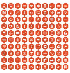 100 data exchange icons hexagon orange vector