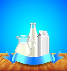 Milk with ribbon for text on wooden table blue vector