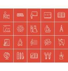 Education sketch icon set vector