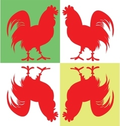 Silhouette of four cock 2017 year red rooster vector