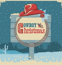 Cowboy christmas card with western hat and text on vector