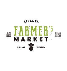 Farmers market typography emblem design vintage vector