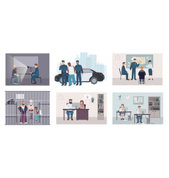 Different situations in police station colorful vector