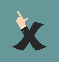 X letter businessman hand font it shows finger vector