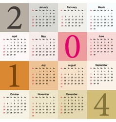 Colorful calendar 2014 vector