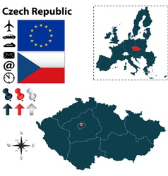 Czech Republic and European Union map vector image