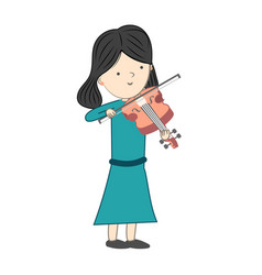 Girl playing violin isolated on white background vector