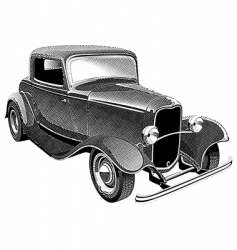 Vintage muscle car engraving vector