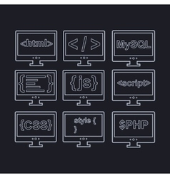 Collection of web development icons - html css tag vector