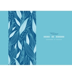 Blue bamboo leaves horizontal seamless pattern vector