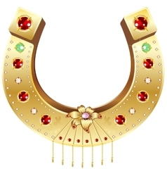 Golden horseshoe decorated with precious stones vector