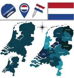 Netherlands map with named divisions vector