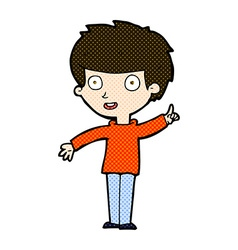 Comic cartoon boy with idea vector