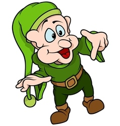 Green Elf Pointing vector image