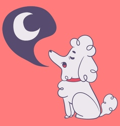 Cute dog howling to moon vector