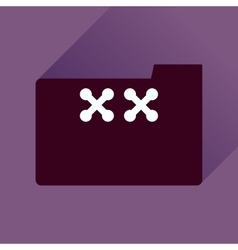 Flat icon with long shadow folder crosses vector