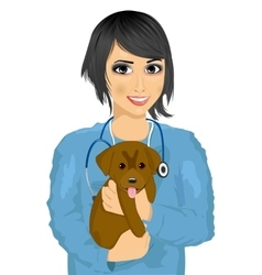 Female asian veterinarian hugging cute little dog vector