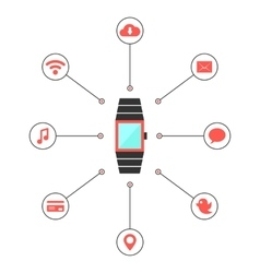 Smart watches with social media icons vector