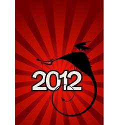 New year card with dragon symbol of 2012 vector
