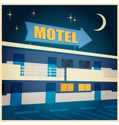Motel at night old poster vector
