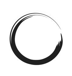 Black paint brush circle stroke abstract vector