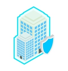 Building protect by shield icon isometric 3d vector