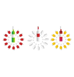 Circular wine bottles and glasses vector image