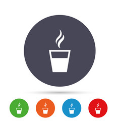 coffee glass sign icon hot coffee button vector image vector image