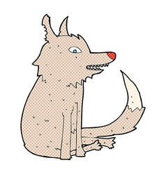 Comic cartoon wolf sitting vector