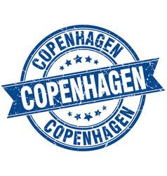 Copenhagen blue round grunge vintage ribbon stamp vector