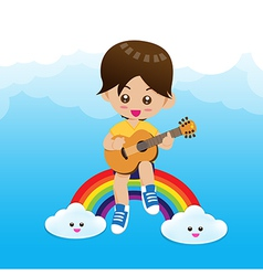 Cute Little boy child playing a music guitar on vector image vector image