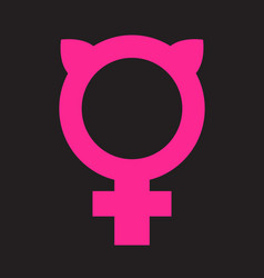 Female symbol combined with pussy ears vector