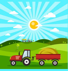 field with tractors tractor on meadow flat design vector image vector image