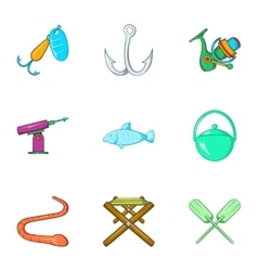 Fishing sport icons set cartoon style vector