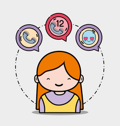 Girl with phone calls icons message vector