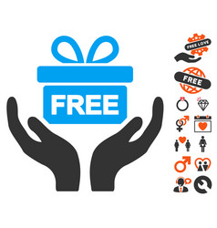 Give present icon with lovely bonus vector