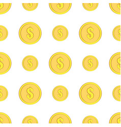 golden coins with dollar sign seamless pattern vector image vector image