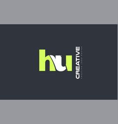green letter hu h u combination logo icon company vector image