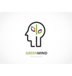 Green mind- abstract colorful icon of human head vector