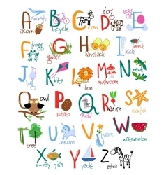 Hand drawn kids alphabet vector