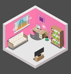 Interior design of room for girl in isometric vector