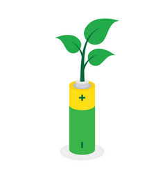leaves growing from battery vector image