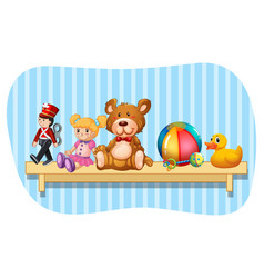 Many types of toys on wooden shelf vector