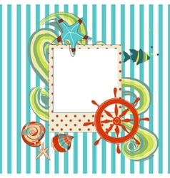 Marine scrapbook with photo frame vector image vector image