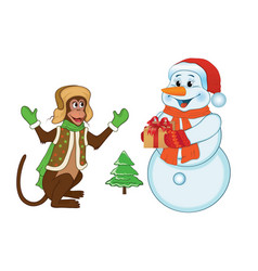 monkey and snowman vector image