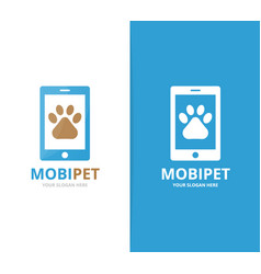 Paw and phone logo combination pet and vector