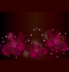Red flowers on dark background glowing border vector