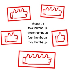 red thumb up clean stamp vector image vector image