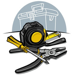 screwdrive pliers and tape measure vector image vector image