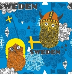 Seamless pattern with swedish theme vector image vector image